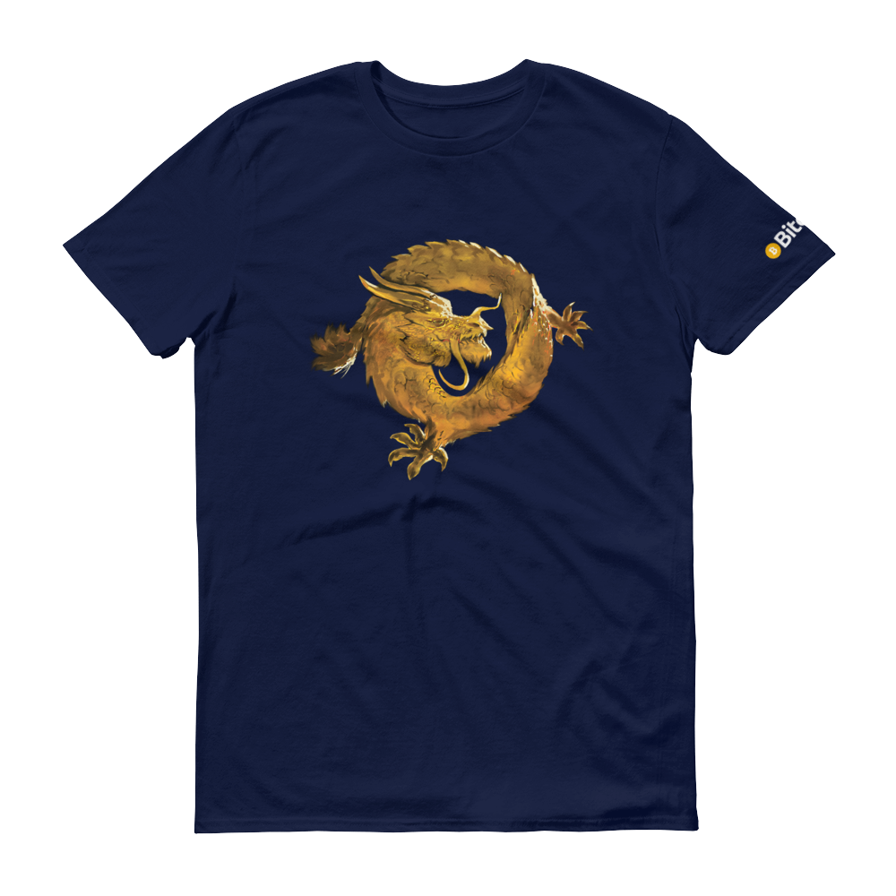 Bitcoin SV Woken Dragon Short-Sleeve T-Shirt Navy S - zeroconfs