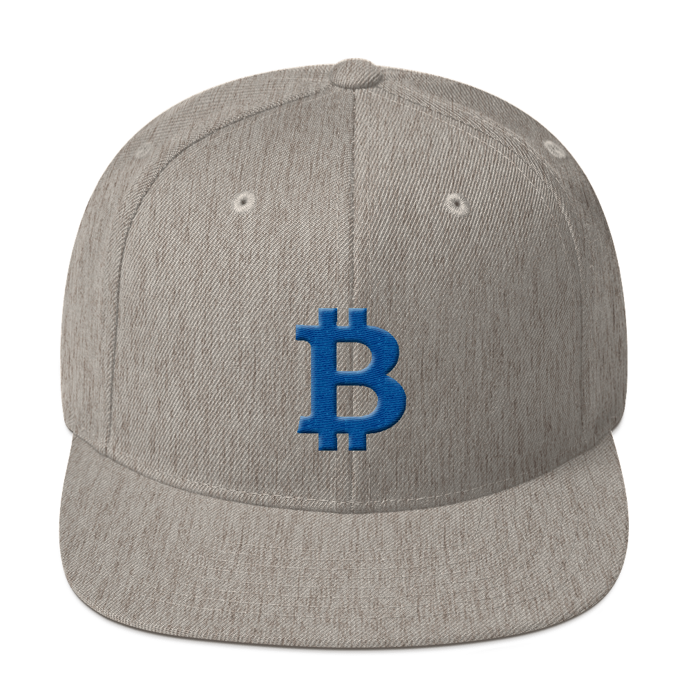 Bitcoin B Snapback Hat Blue Heather Grey  - zeroconfs