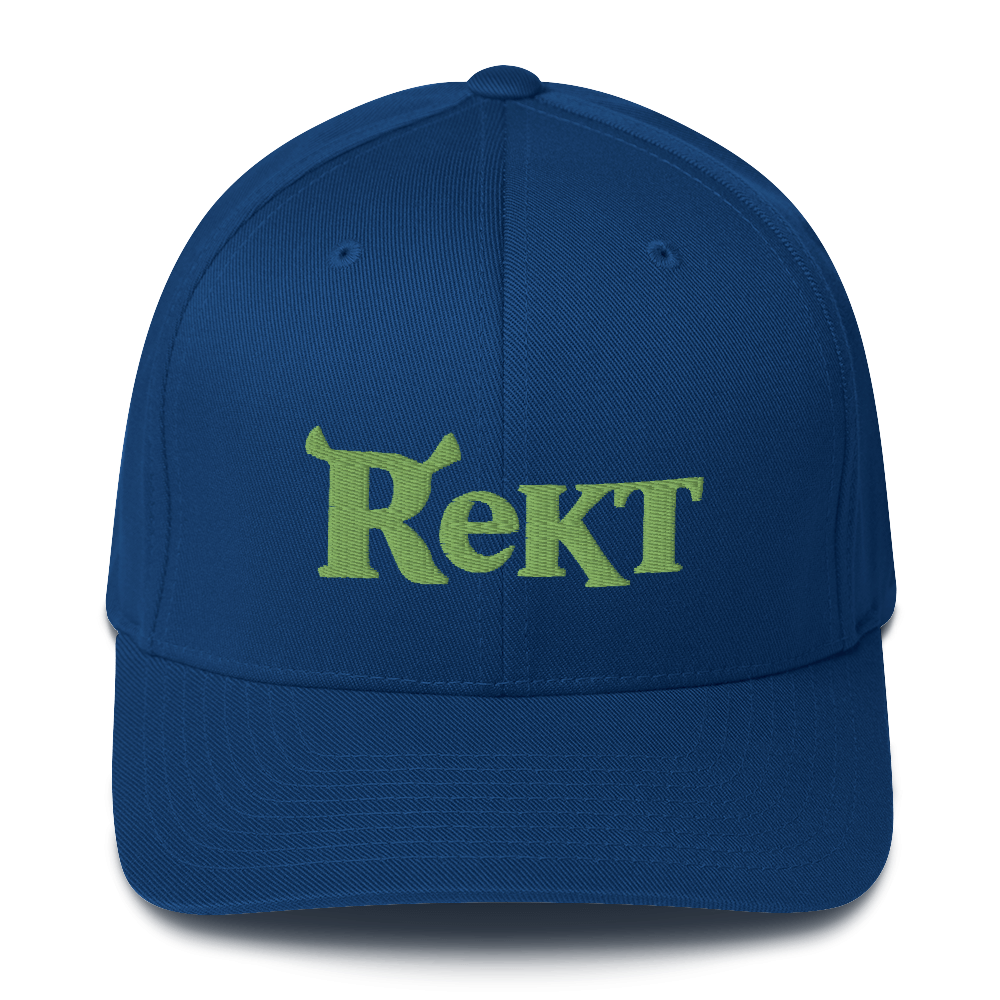 Rekt Crypto Flexfit Cap Royal Blue S/M - zeroconfs