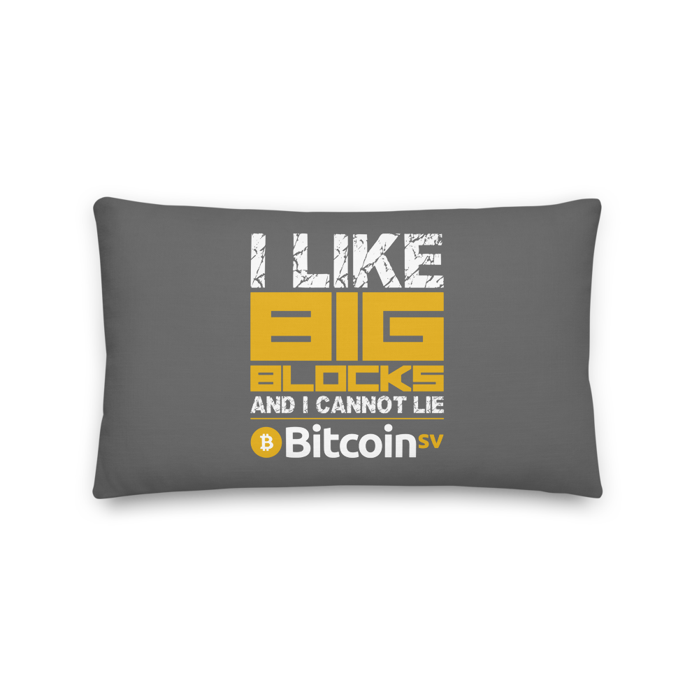 I Like Big Blocks Bitcoin SV Premium Pillow 20×12  - zeroconfs