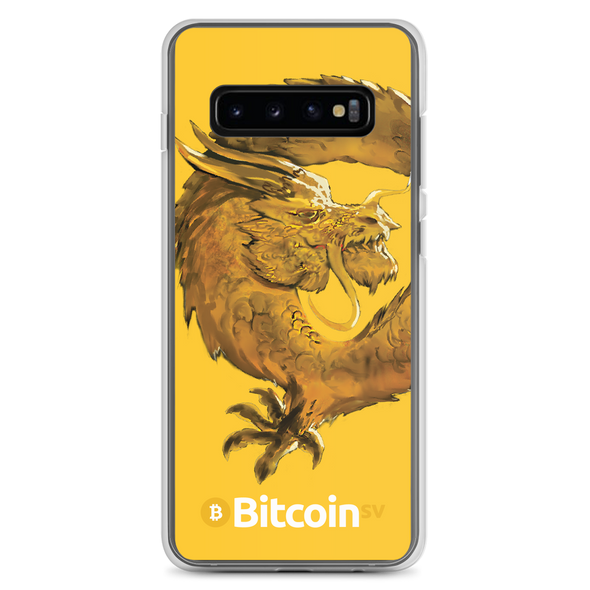 Bitcoin SV Woken Dragon Samsung Case Yellow Samsung Galaxy S10+  - zeroconfs