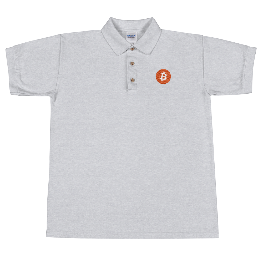 Bitcoin Core Embroidered Polo Shirt Sport Grey S - zeroconfs
