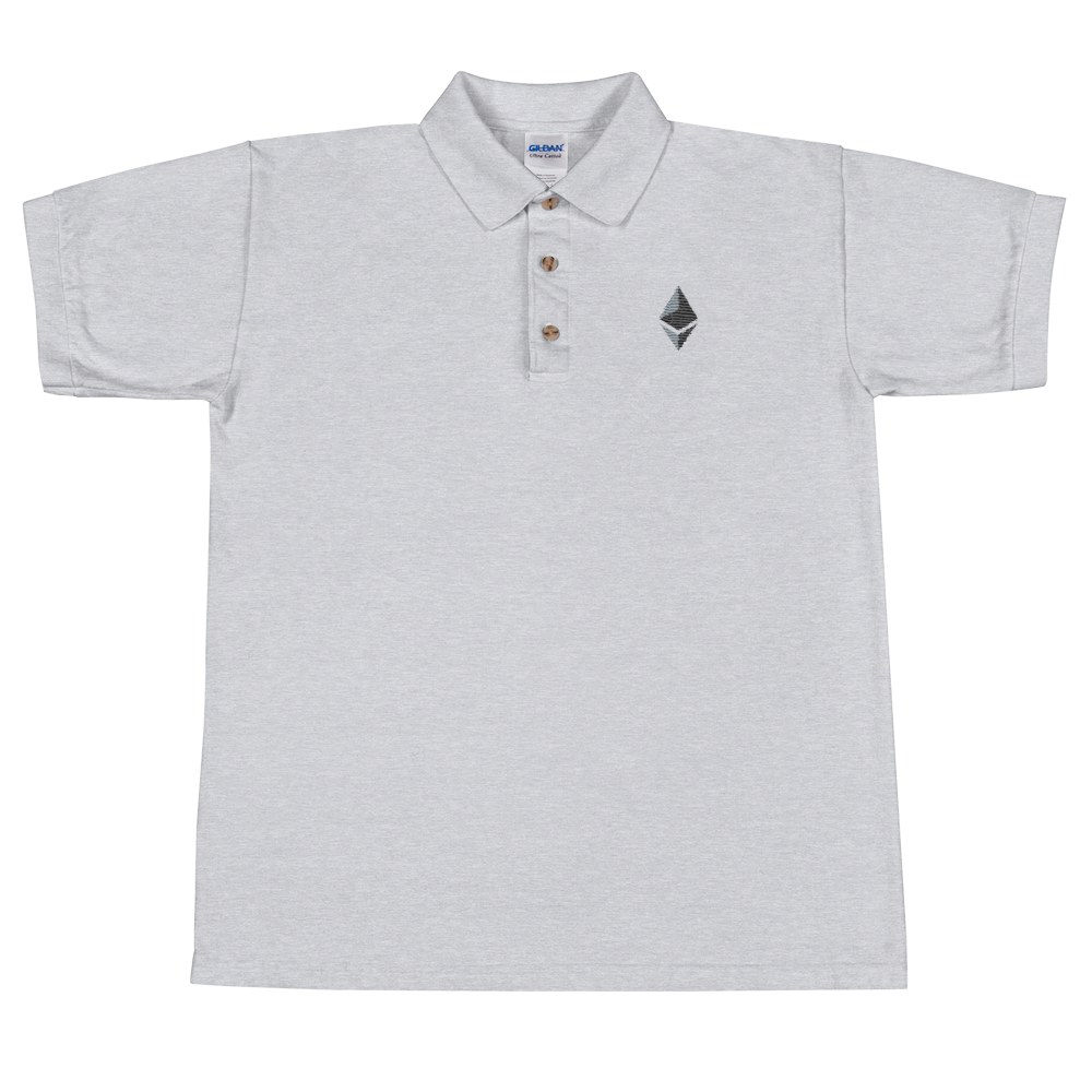 Ethereum Embroidered Polo Shirt Sport Grey S - zeroconfs