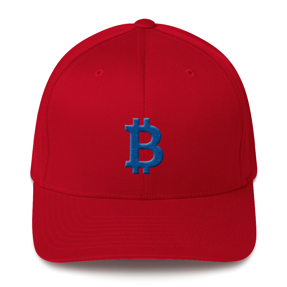 Bitcoin B Flexfit Cap Blue Red S/M - zeroconfs