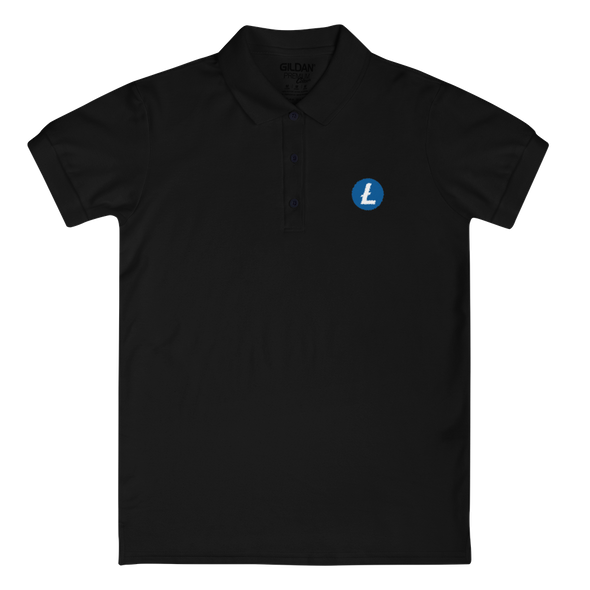 Litecoin Embroidered Women's Polo Shirt Black S - zeroconfs