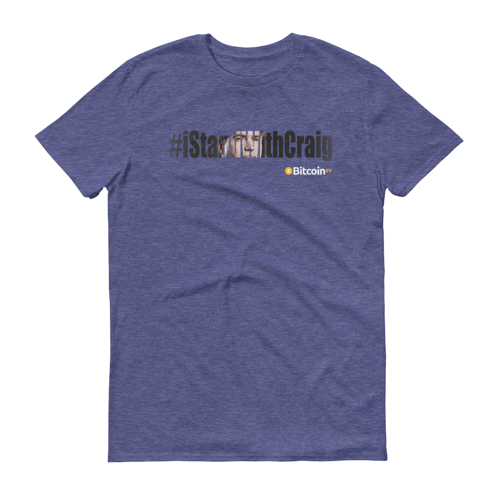 #iStandWithCraig Bitcoin SV Short-Sleeve T-Shirt Heather Blue S - zeroconfs