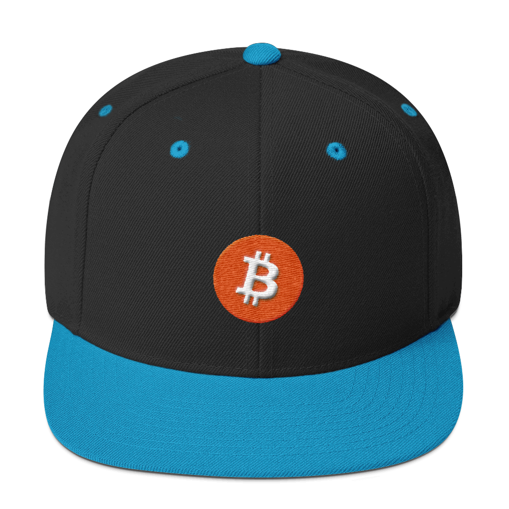 Bitcoin Core Snapback Hat Black/ Teal  - zeroconfs