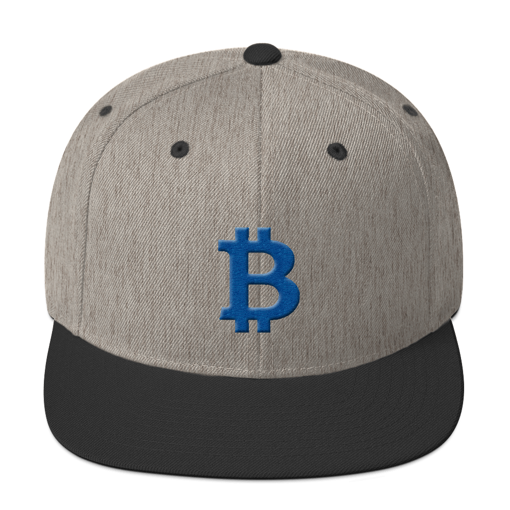 Bitcoin B Snapback Hat Blue Heather/Black  - zeroconfs