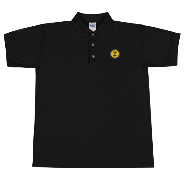 Zcash Embroidered Polo Shirt Black S - zeroconfs