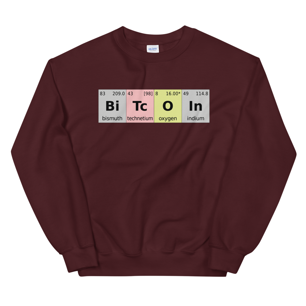 Bitcoin Periodic Table Sweatshirt Maroon S - zeroconfs