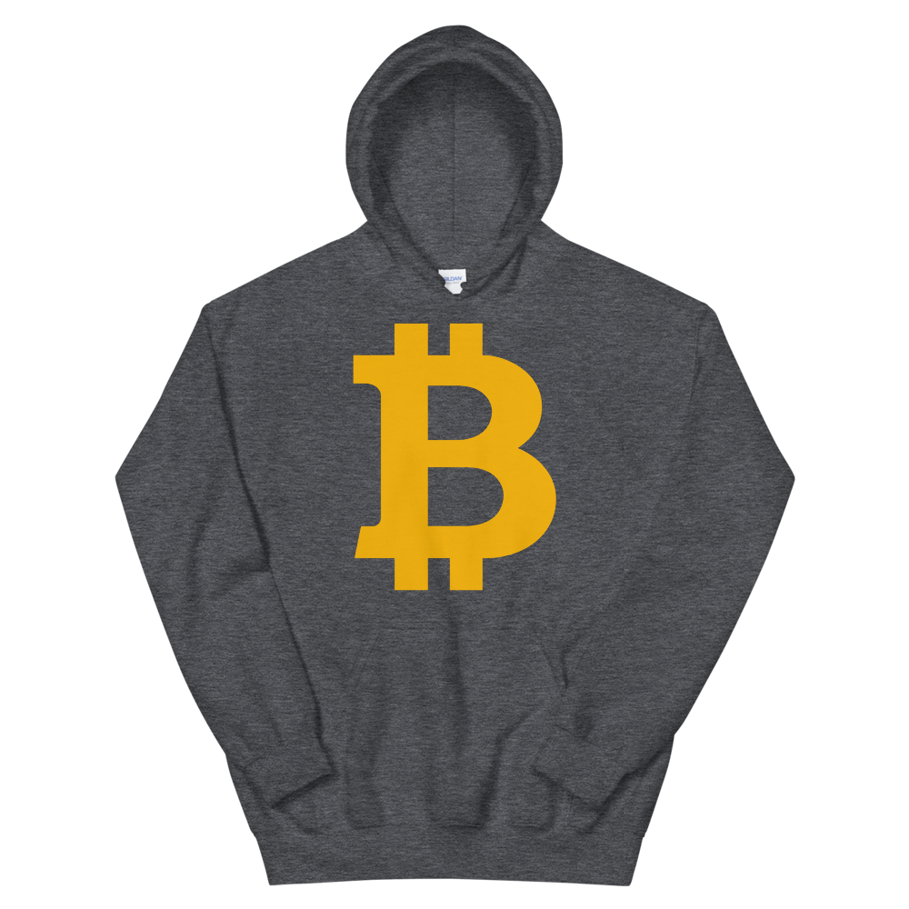 Bitcoin B Hooded Sweatshirt Dark Heather S - zeroconfs