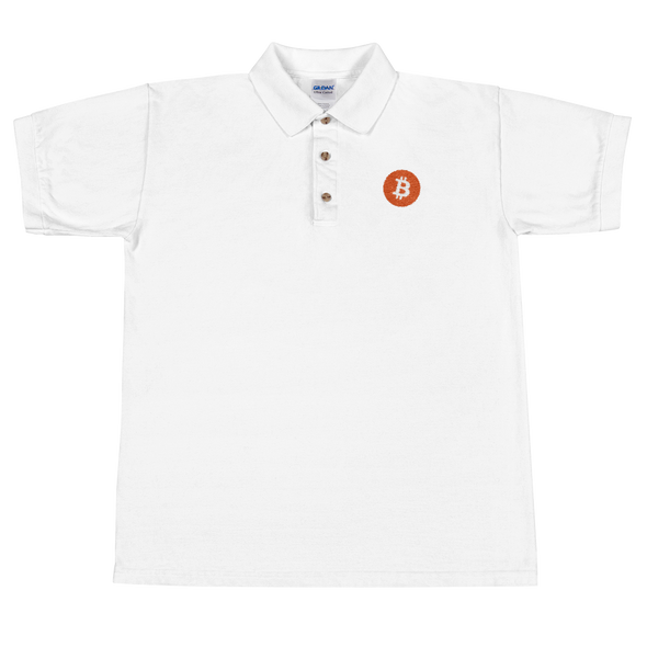 Bitcoin Core Embroidered Polo Shirt White S - zeroconfs