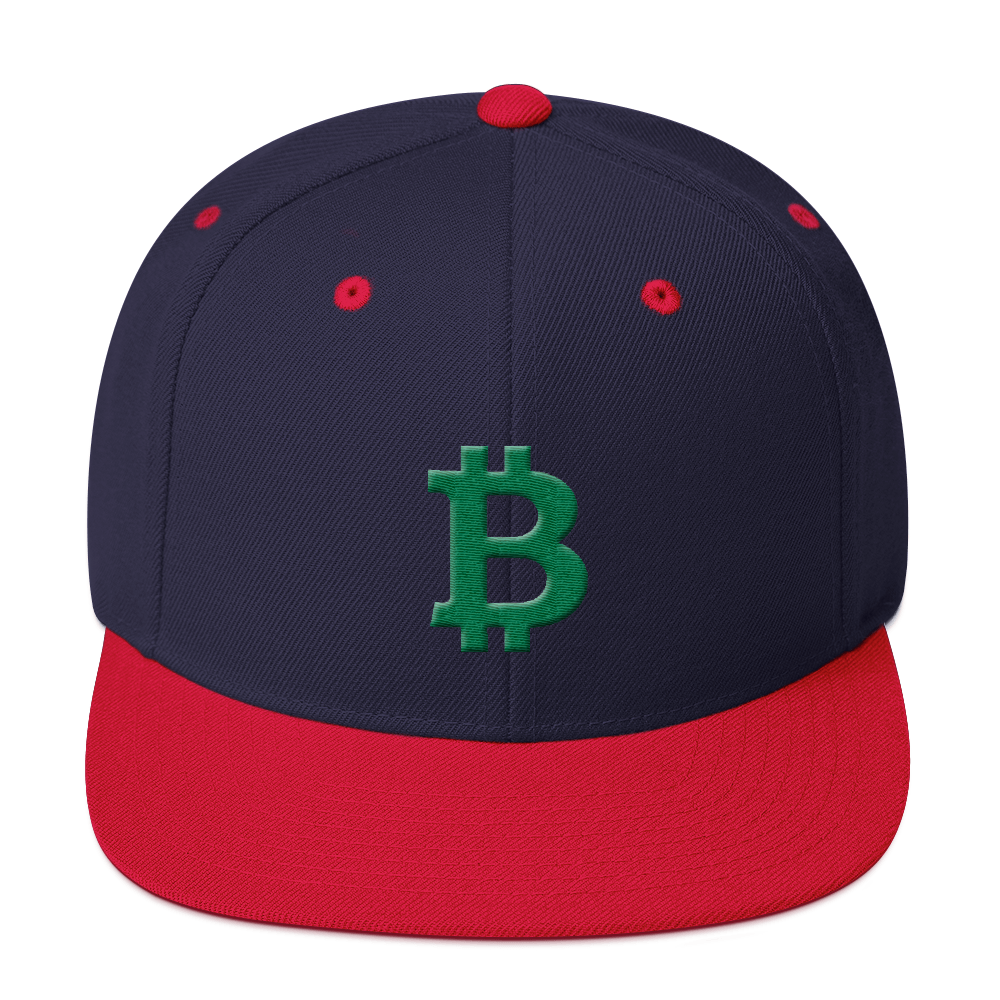 Bitcoin B Snapback Hat Green Navy/ Red  - zeroconfs