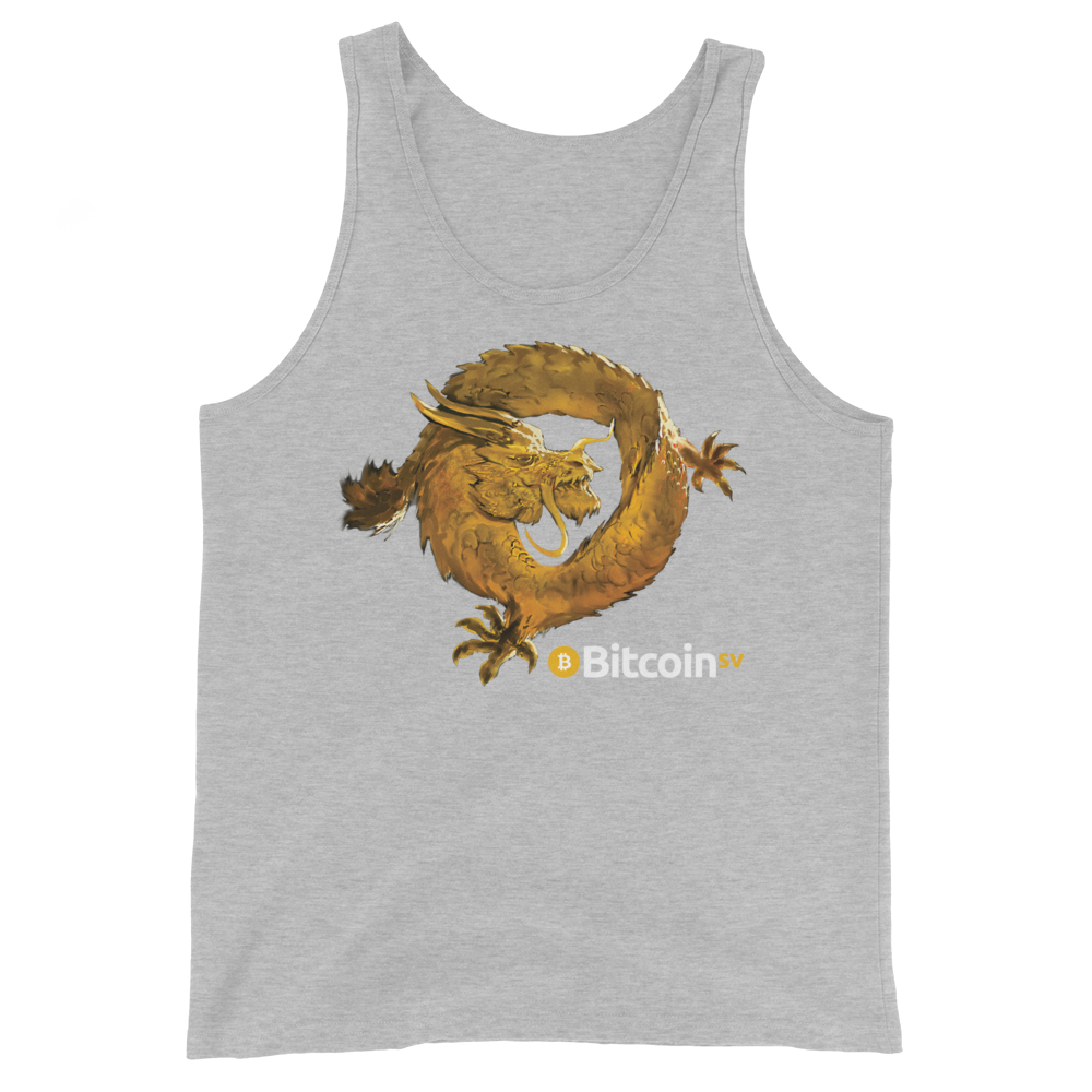 Bitcoin SV Woken Dragon Tank Top Athletic Heather XS - zeroconfs