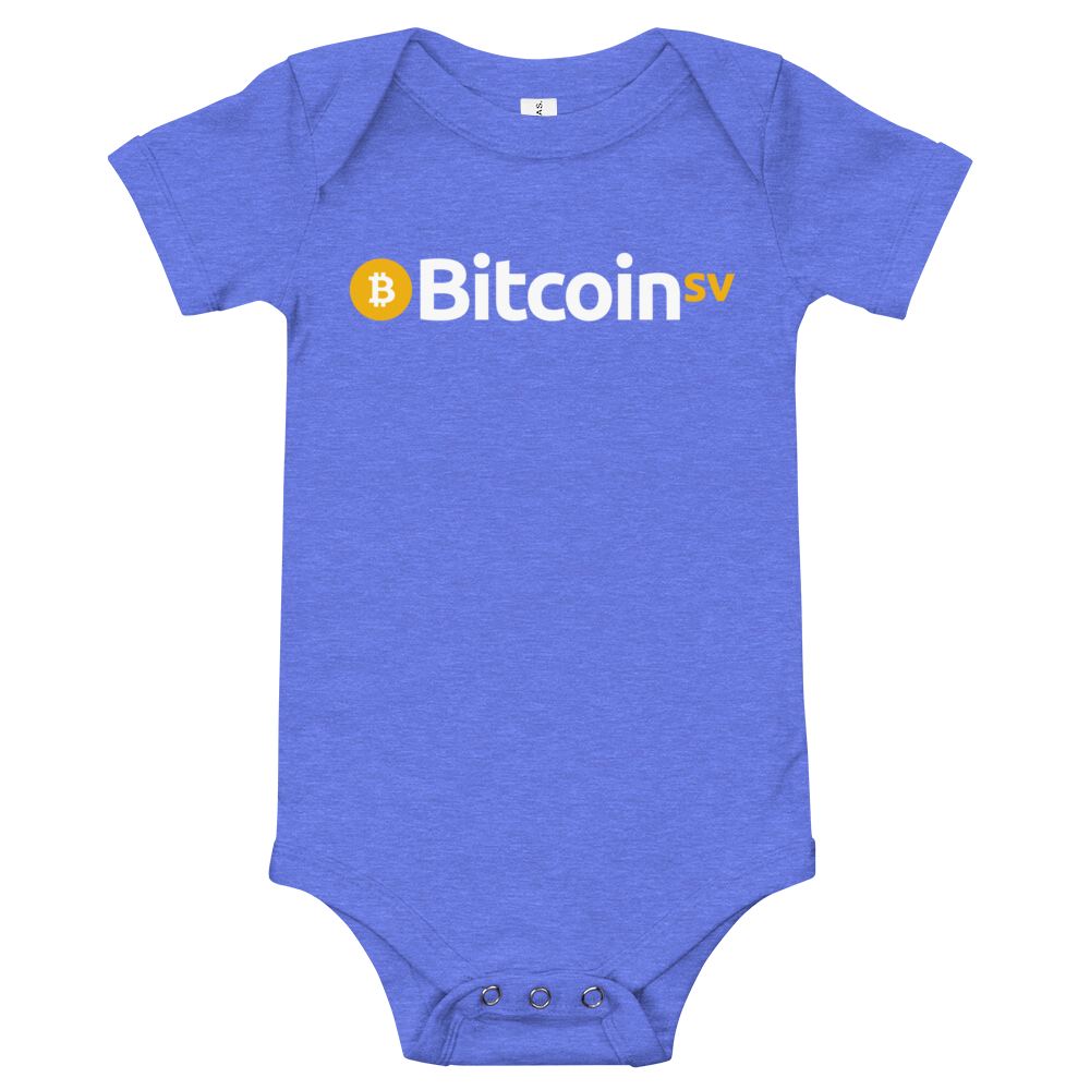 Bitcoin SV Baby Bodysuit Heather Columbia Blue 3-6m - zeroconfs