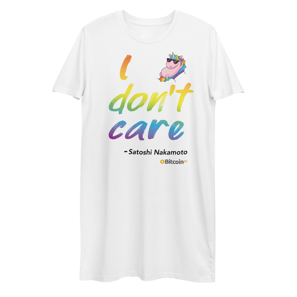 I Don't Care Bitcoin SV Premium T-Shirt Dress White XS - zeroconfs