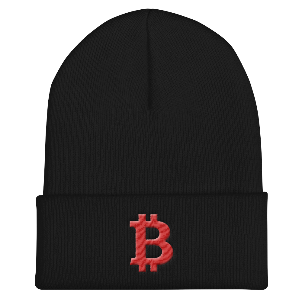 Bitcoin B Cuffed Beanie Red Black  - zeroconfs
