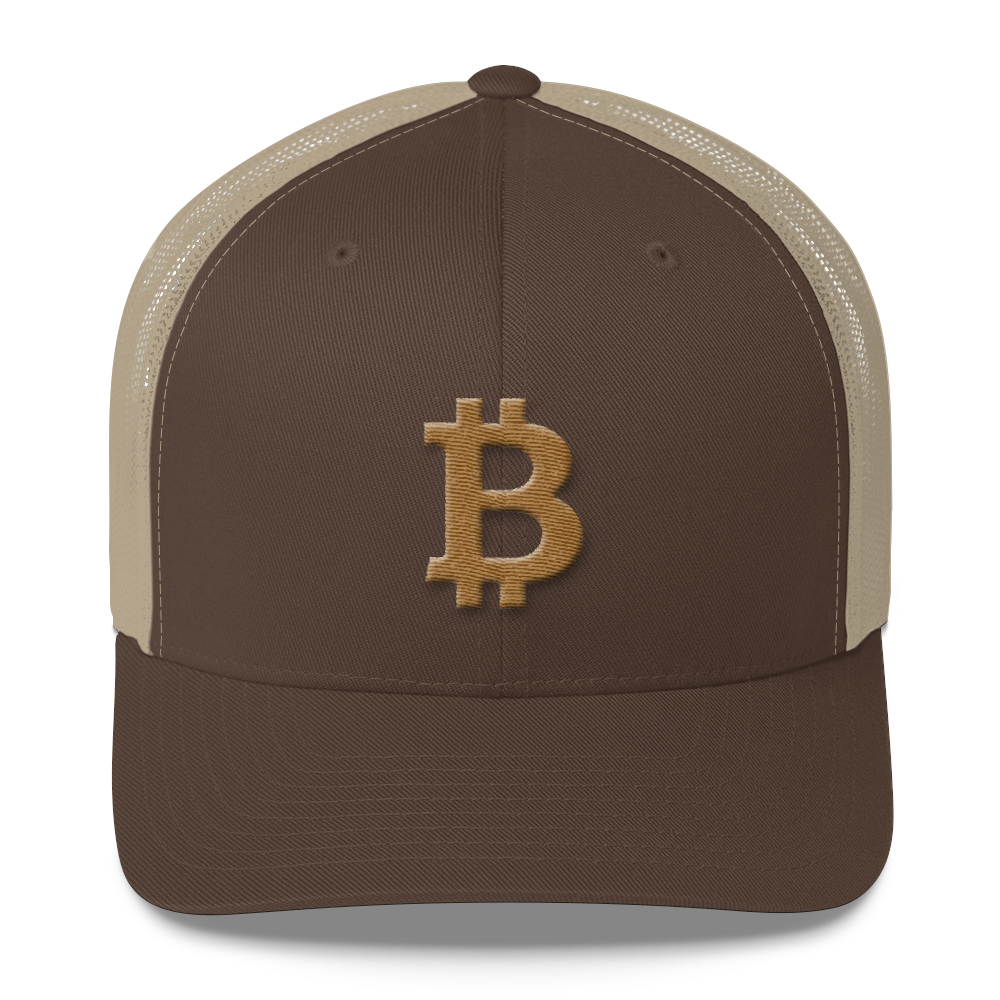 Bitcoin B Trucker Cap Gold Brown/ Khaki  - zeroconfs