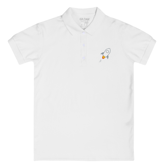 Stellar Embroidered Women's Polo Shirt White S - zeroconfs