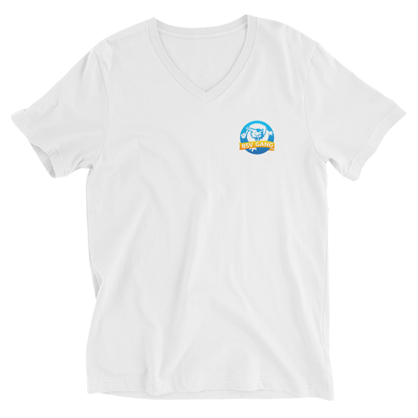 Bitcoin SV Gang Small Logo V-Neck T-Shirt White S - zeroconfs