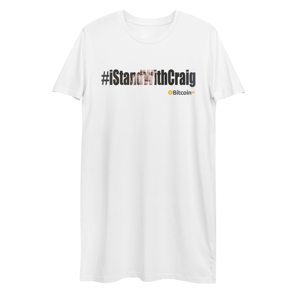 #IStandWithCraig Bitcoin SV Premium T-Shirt Dress White XS - zeroconfs