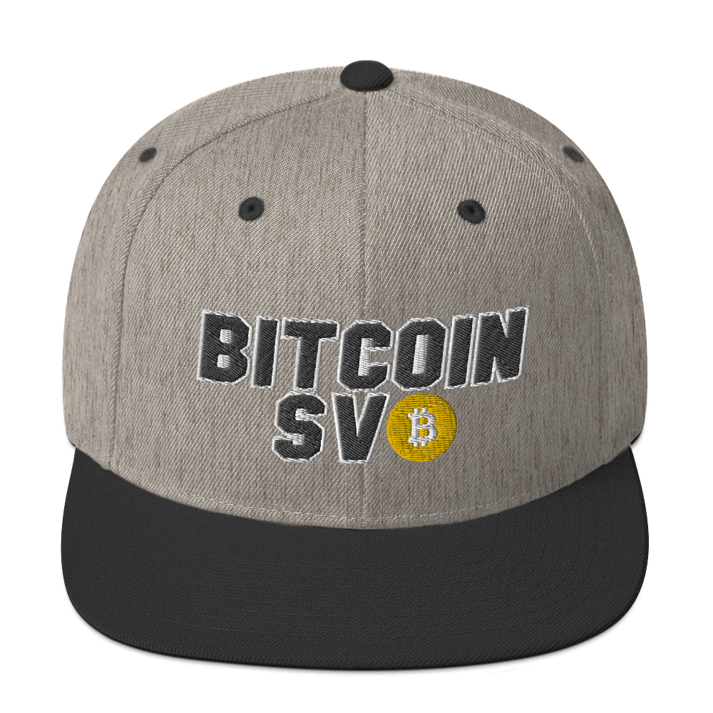 Bitcoin SV Sports Snapback Hat Heather/Black  - zeroconfs