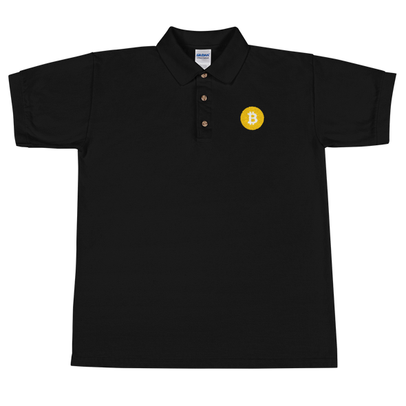 Bitcoin SV Logo Embroidered Polo Shirt Black S - zeroconfs