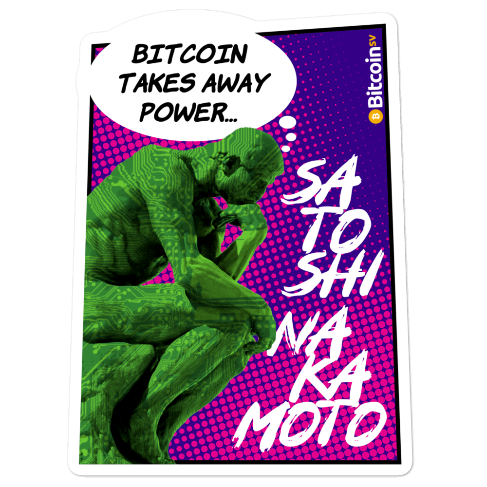 Bitcoin Takes Away Power Bubble-Free Vinyl Stickers 5.5x5.5  - zeroconfs