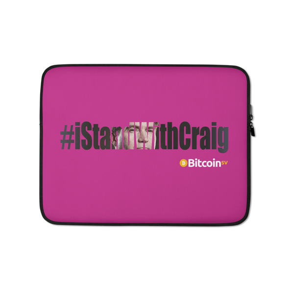 #IStandWithCraig Bitcoin SV Laptop Sleeve Hot Pink 13 in  - zeroconfs