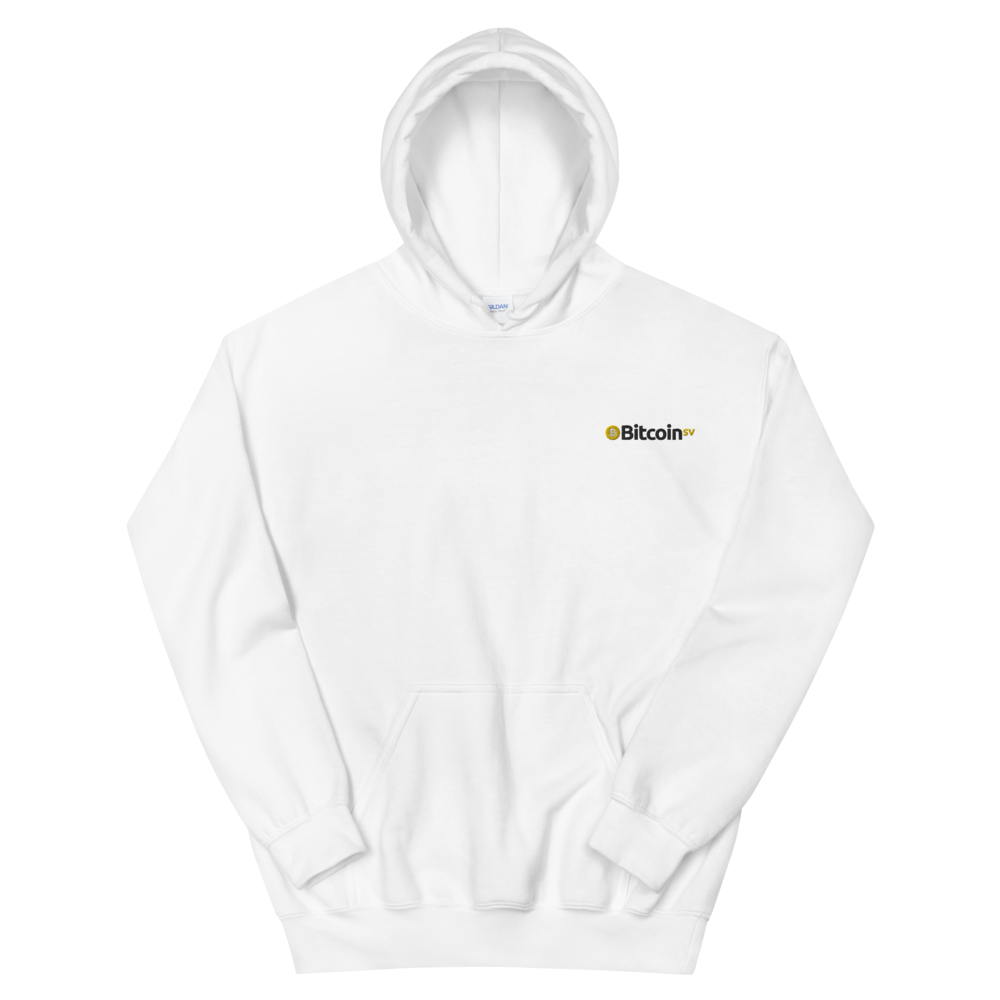 Bitcoin SV Embroidered Women's Hooded Sweatshirt White S - zeroconfs