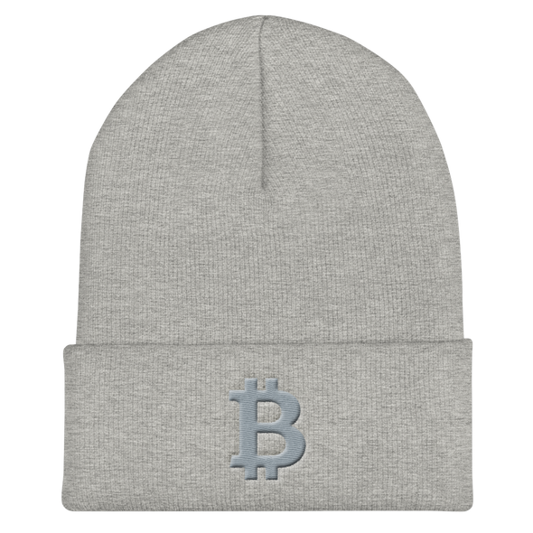 Bitcoin B Cuffed Beanie Gray Heather Grey  - zeroconfs