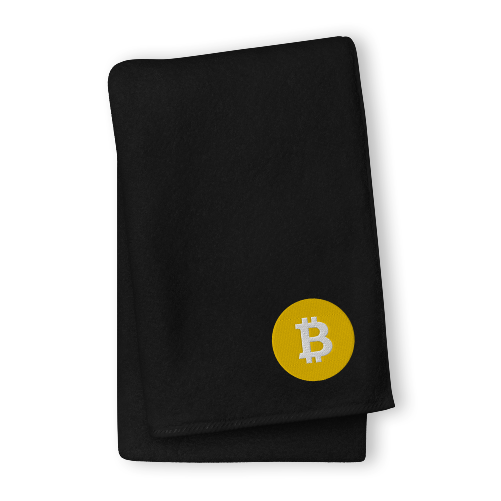Bitcoin SV Logo Premium Embroidered Towel Black GIANT Towel - zeroconfs