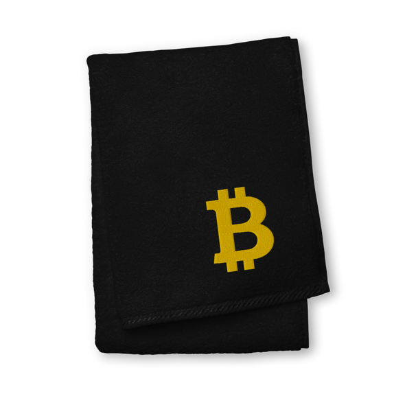 Bitcoin Gold Premium Embroidered Towel Black Hand Towel - zeroconfs