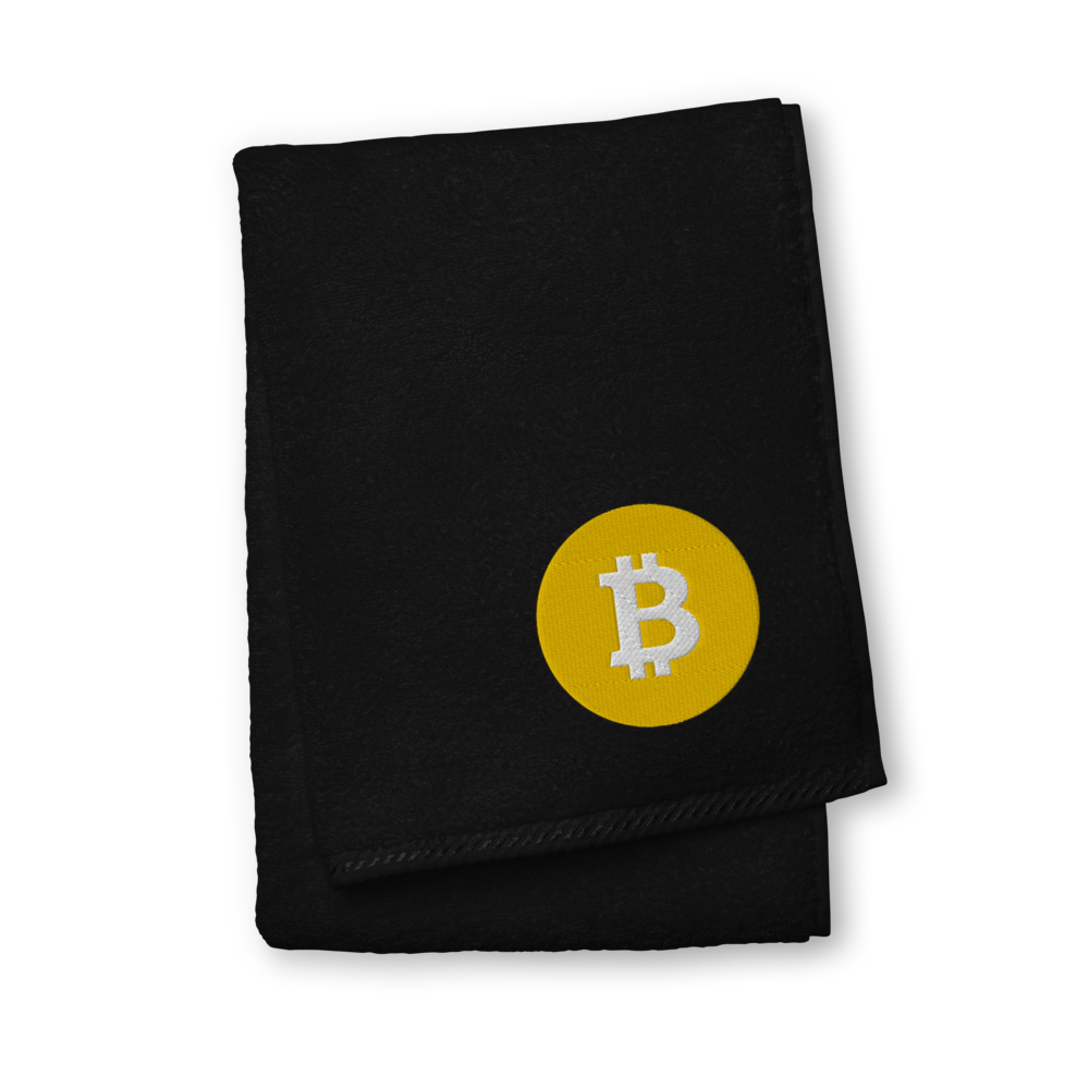 Bitcoin SV Logo Premium Embroidered Towel Black Hand Towel - zeroconfs