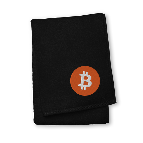 Bitcoin Core Logo Premium Embroidered Towel Black Hand Towel - zeroconfs
