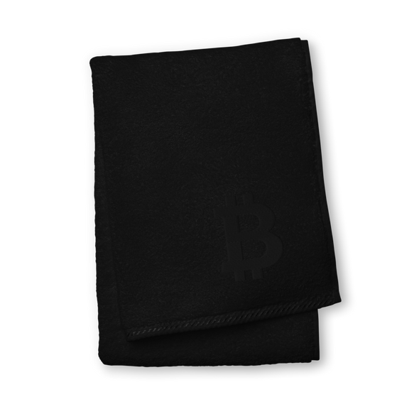 Bitcoin Black Premium Embroidered Towel Black Hand Towel - zeroconfs