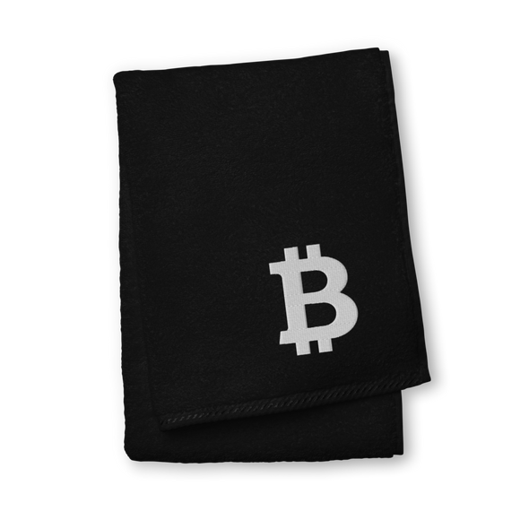 Bitcoin White Premium Embroidered Towel Black Hand Towel - zeroconfs