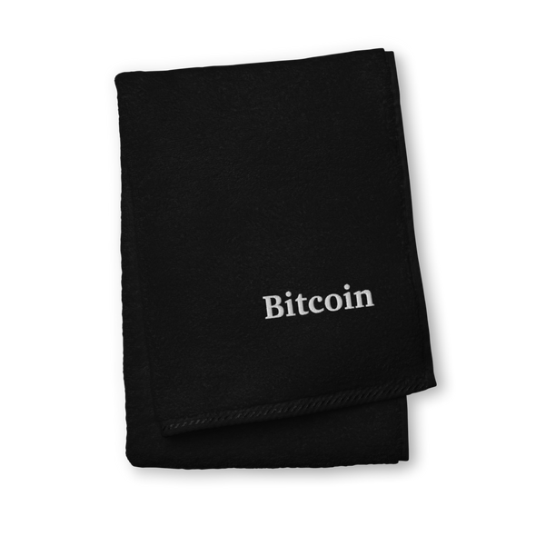 Bitcoin By Satoshi Premium Embroidered Towel Black Hand Towel - zeroconfs