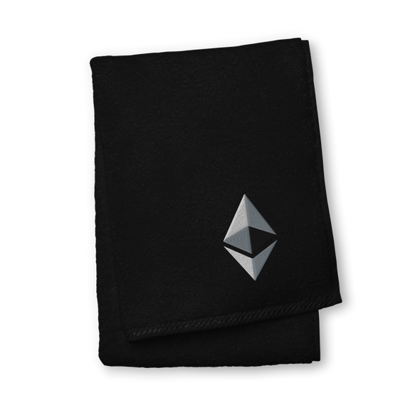 Ethereum Premium Embroidered Towel Black Hand Towel - zeroconfs