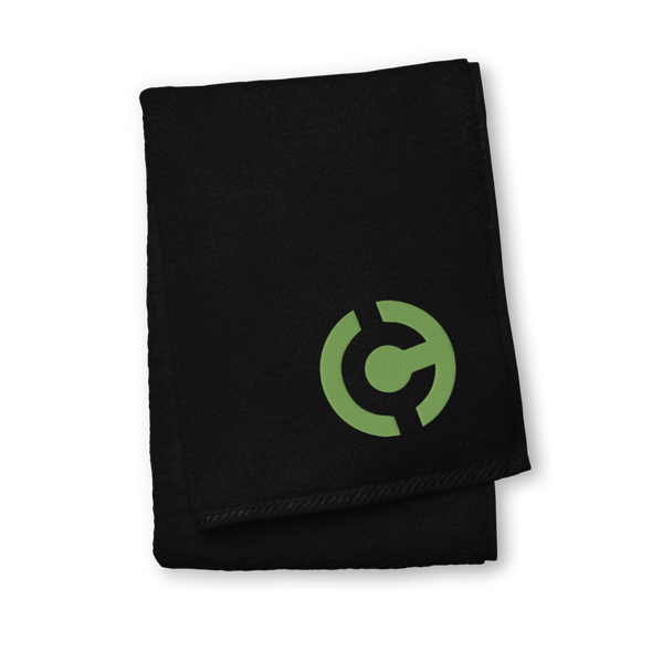 HandCash Official Premium Embroidered Towel Black Hand Towel - zeroconfs