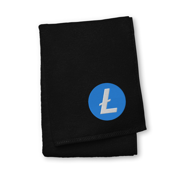 Litecoin Premium Embroidered Towel Black Hand Towel - zeroconfs