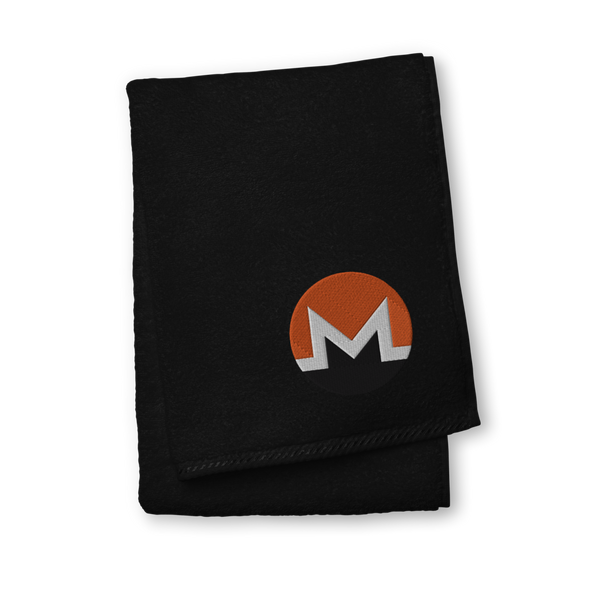 Monero Premium Embroidered Towel Black Hand Towel - zeroconfs