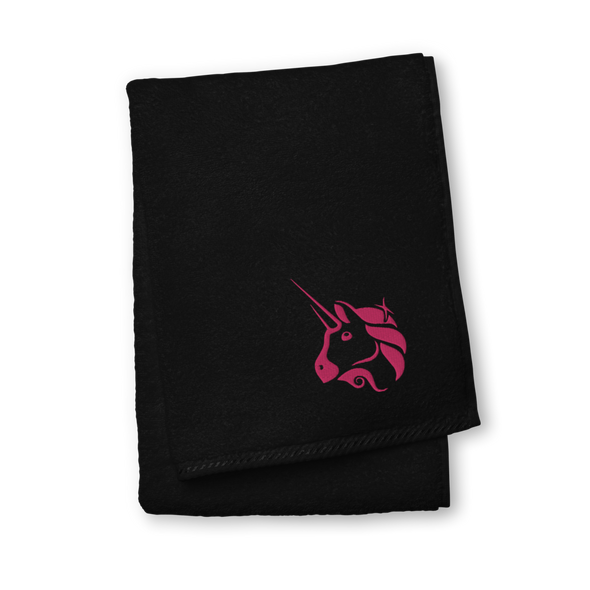 Uniswap Unicorn Premium Embroidered Towel Black Hand Towel - zeroconfs