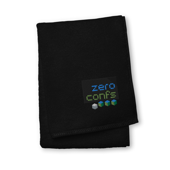 Zeroconfs.com Premium Embroidered Towel Black Hand Towel - zeroconfs