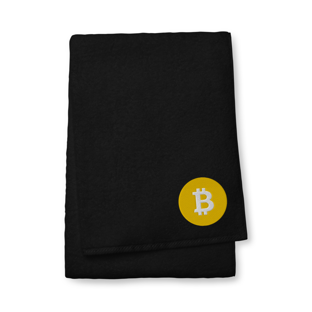 Bitcoin SV Logo Premium Embroidered Towel Black Bath Towel - zeroconfs