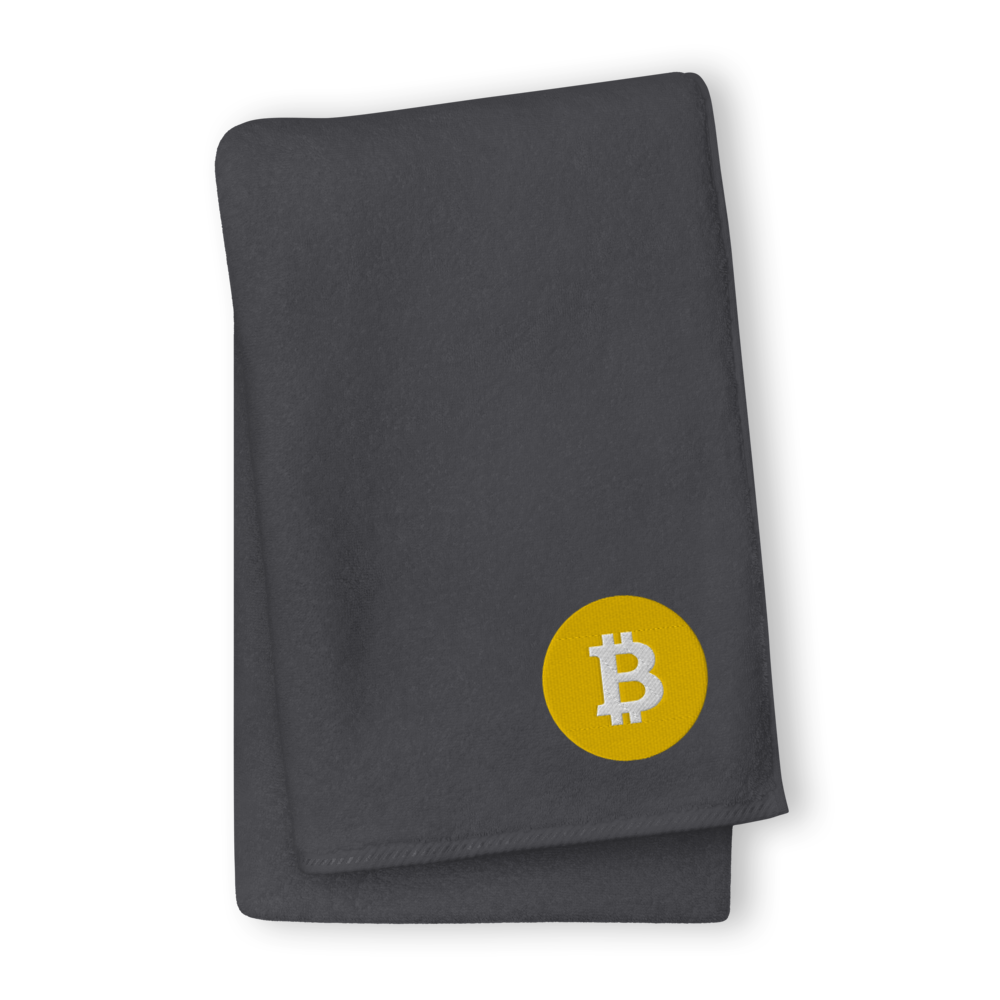 Bitcoin SV Logo Premium Embroidered Towel Graphite GIANT Towel - zeroconfs