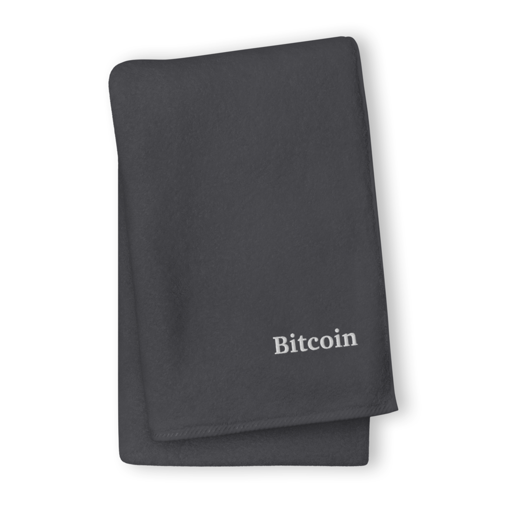 Bitcoin By Satoshi Premium Embroidered Towel Graphite GIANT Towel - zeroconfs