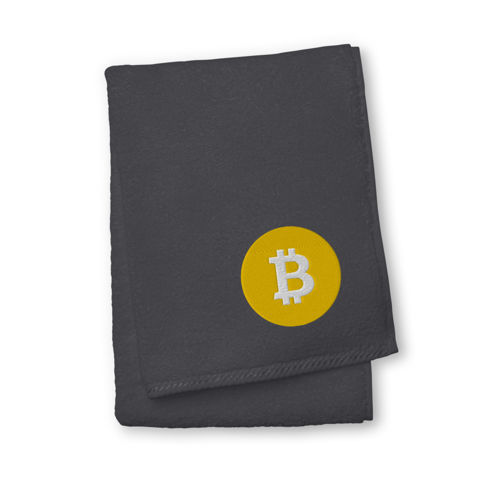 Bitcoin SV Logo Premium Embroidered Towel Graphite Hand Towel - zeroconfs