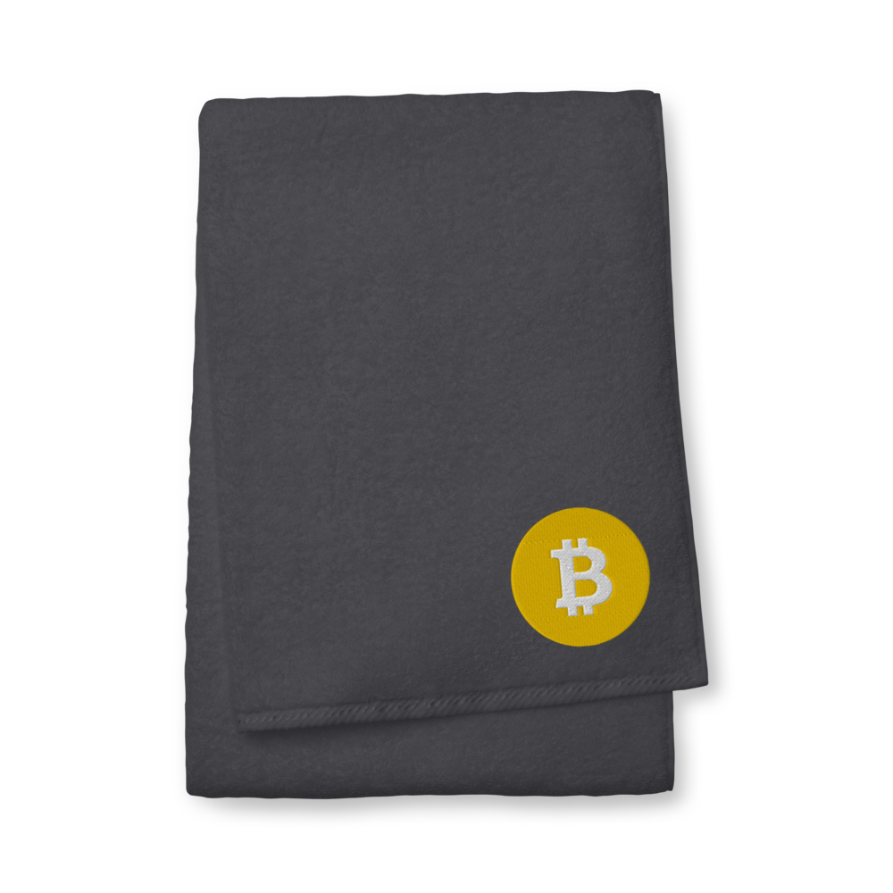 Bitcoin SV Logo Premium Embroidered Towel Graphite Bath Towel - zeroconfs