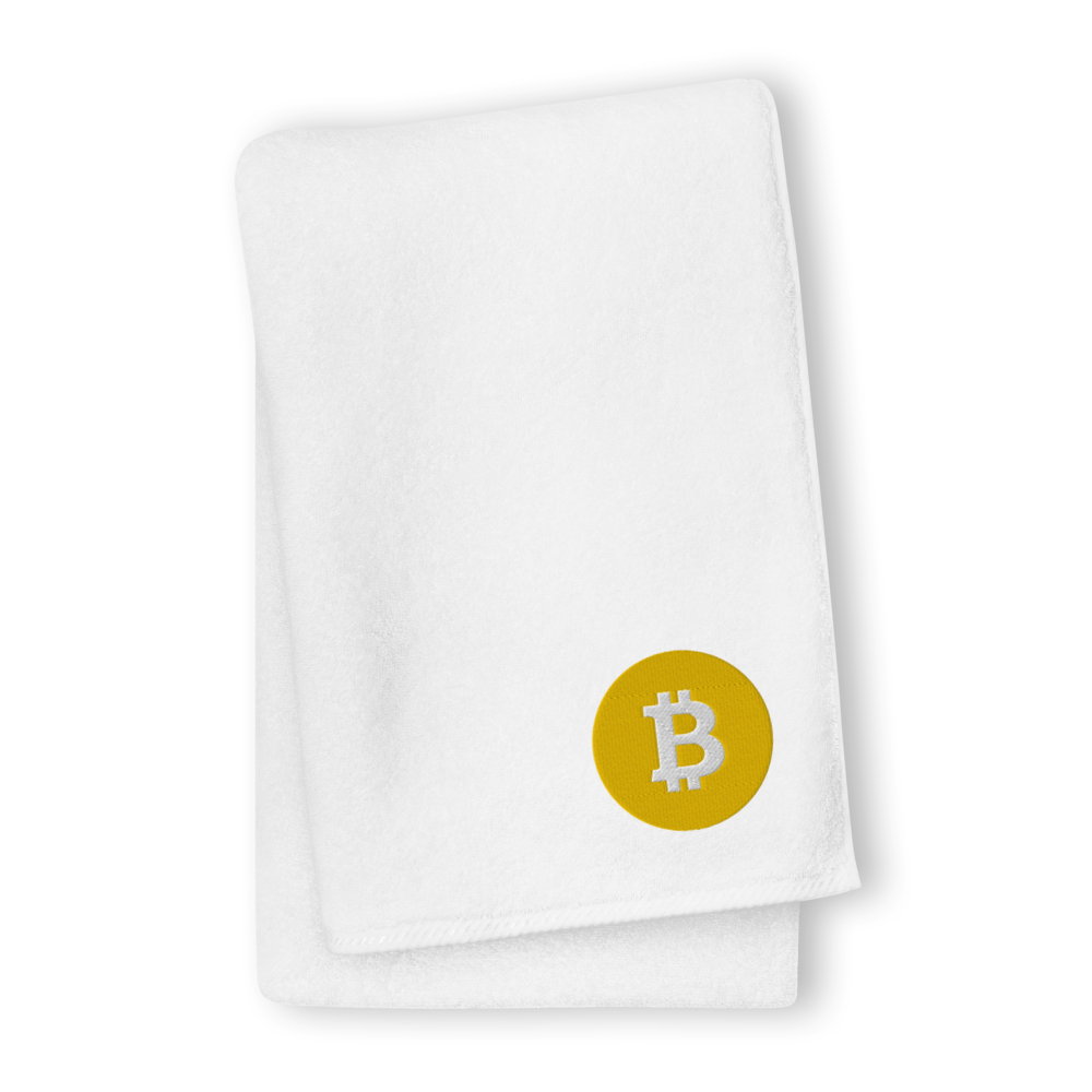 Bitcoin SV Logo Premium Embroidered Towel White GIANT Towel - zeroconfs